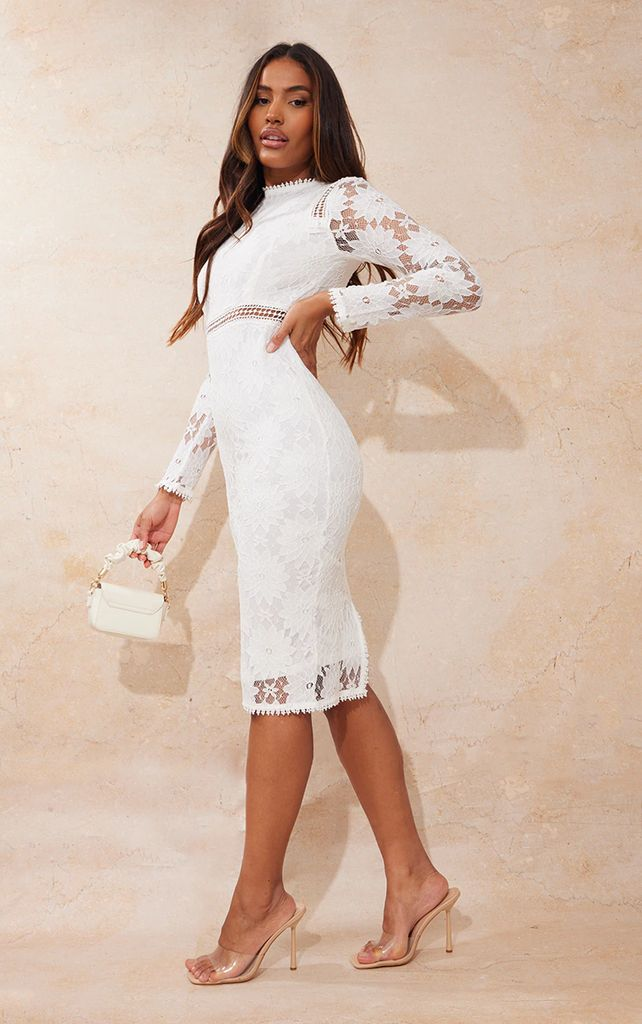 Caris White Long Sleeve Lace Bodycon Dress, White