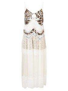 Paco Rabanne leopard print lace dress - Neutrals