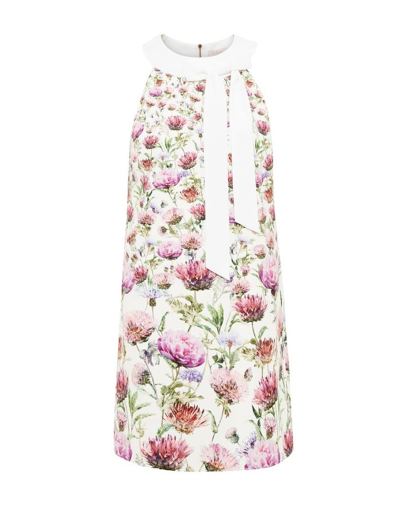 Ted Baker Lucilee Thistle Tie Neck Tunic Dress, Cream