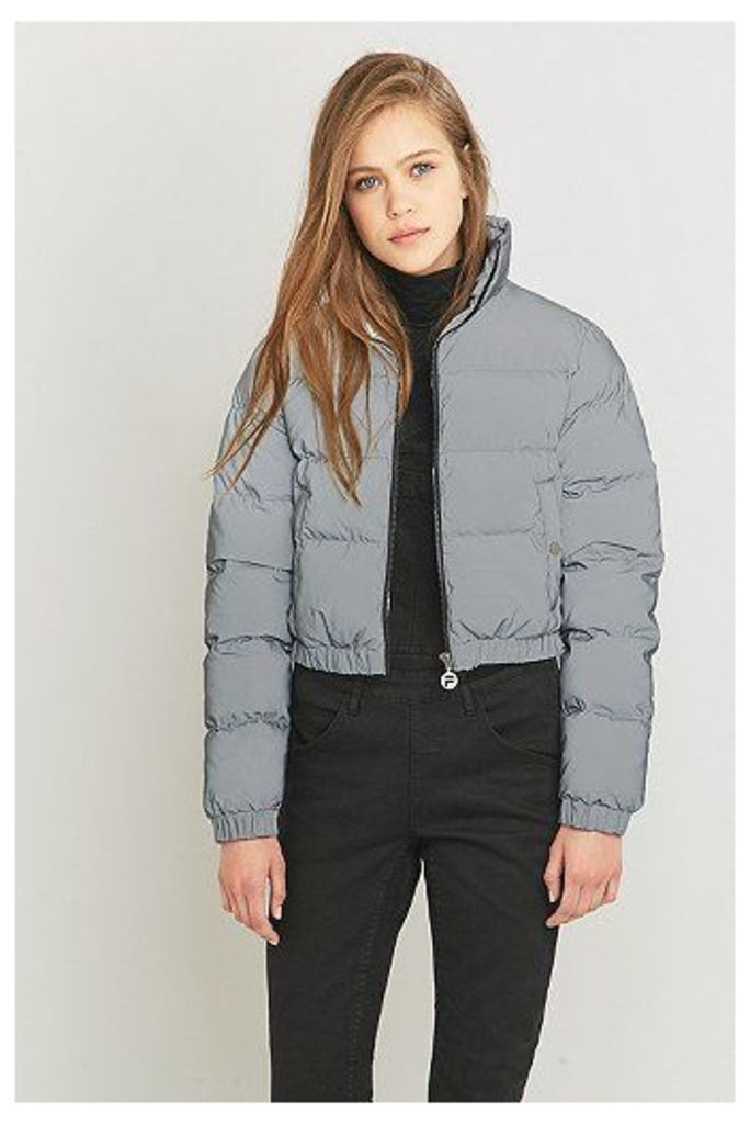 UO Exclusive Fila Toto Reflective Silver Cropped Puffer Jacket, Silver