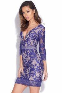 Cobalt Lace V-Neck Mini Dress