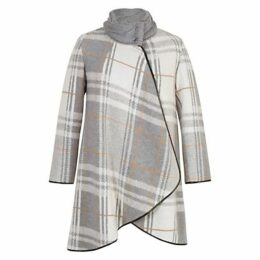 Chesca Check Cable Knit Collar Coat, Grey/Ivory