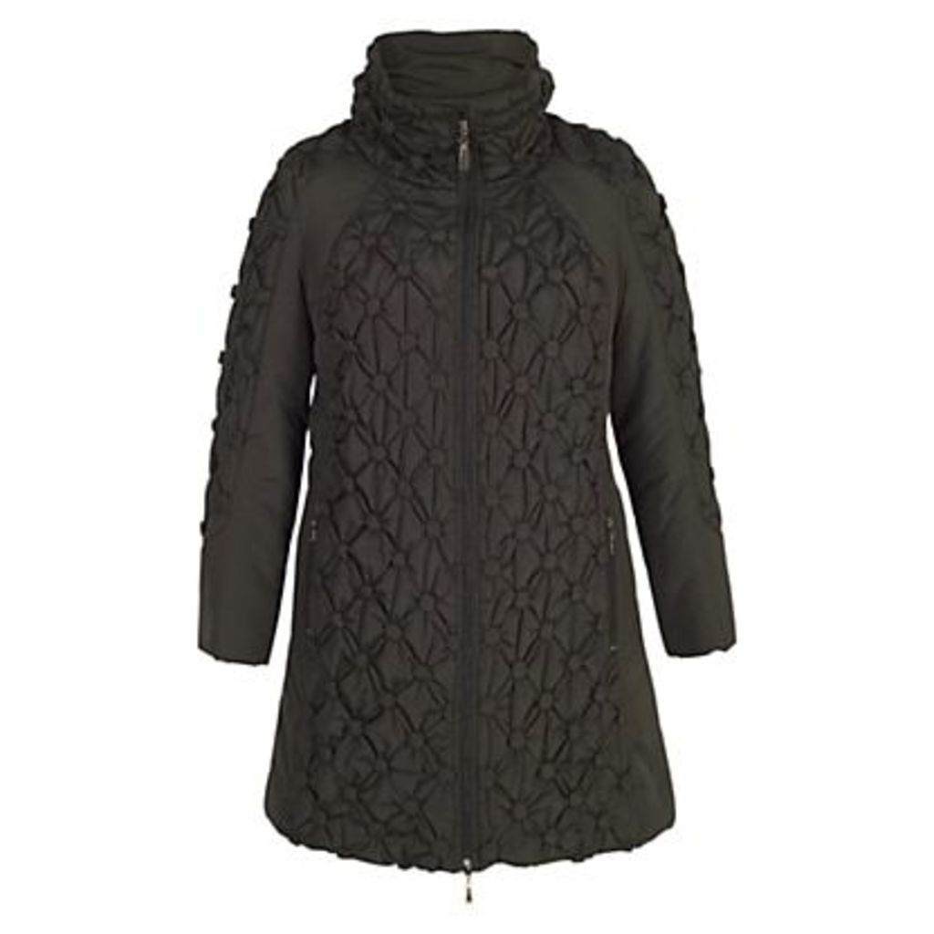 Chesca Button Quilted Coat, Black