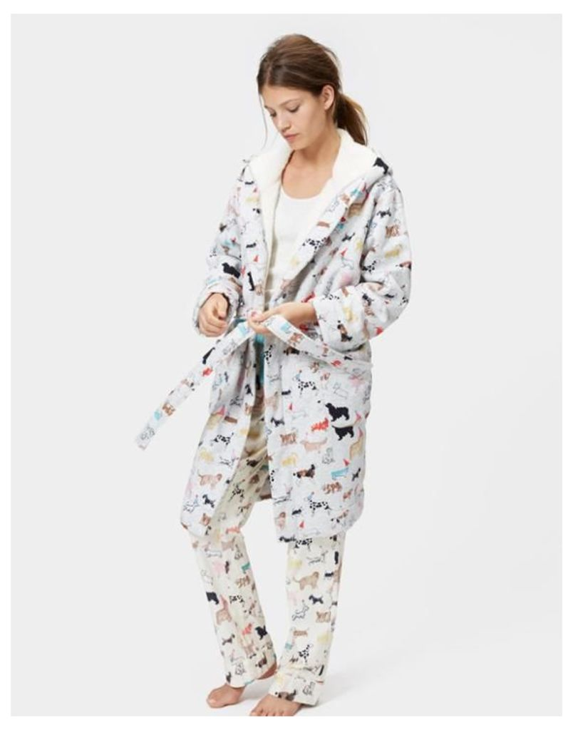 f87531defd Joules Idlewhile Fleece lined Dressing Gown - Grey Multi Dogs by ...