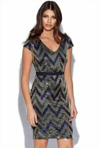 Blue Zig Zag Shimmer Sequin Dress