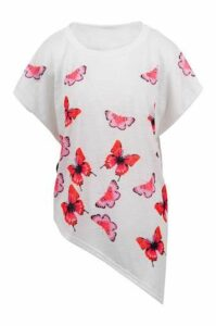 Oversized Butterfly Print Top With Asymmetric Hem