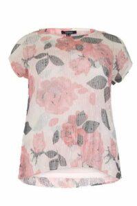 Plus Size Floral Print Net T-Shirt