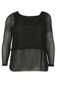 Plus Size Cropped Net Top With Chiffon Shirttail