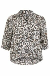 Plus Size Leopard Print Wrap Shirt