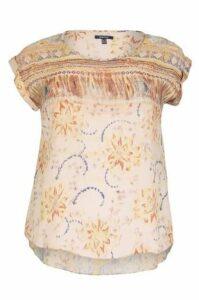 Plus Size Floral Abstract Batik Print Top
