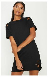 Orla Black Distressed Short Sleeve Sweater Dress, Black