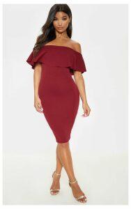 Celinea Burgundy Bardot Frill Midi Dress, Red