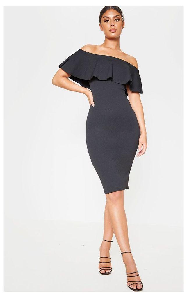 Celinea Black Bardot Frill Midi Dress, Black