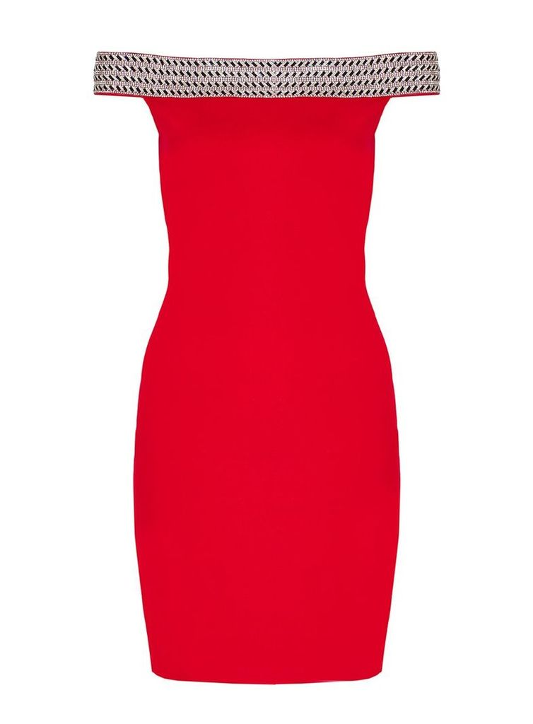 Quiz Red Jersey Bardot Embellished Bodycon Dress, Red