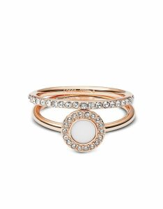 Fossil Designer Rings, Rose-Goldtone Stone Glitz Stackable Women's Ring w/Strass and Glass Stone