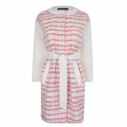 Boutique Moschino Boucle Tweed And Lace Coat