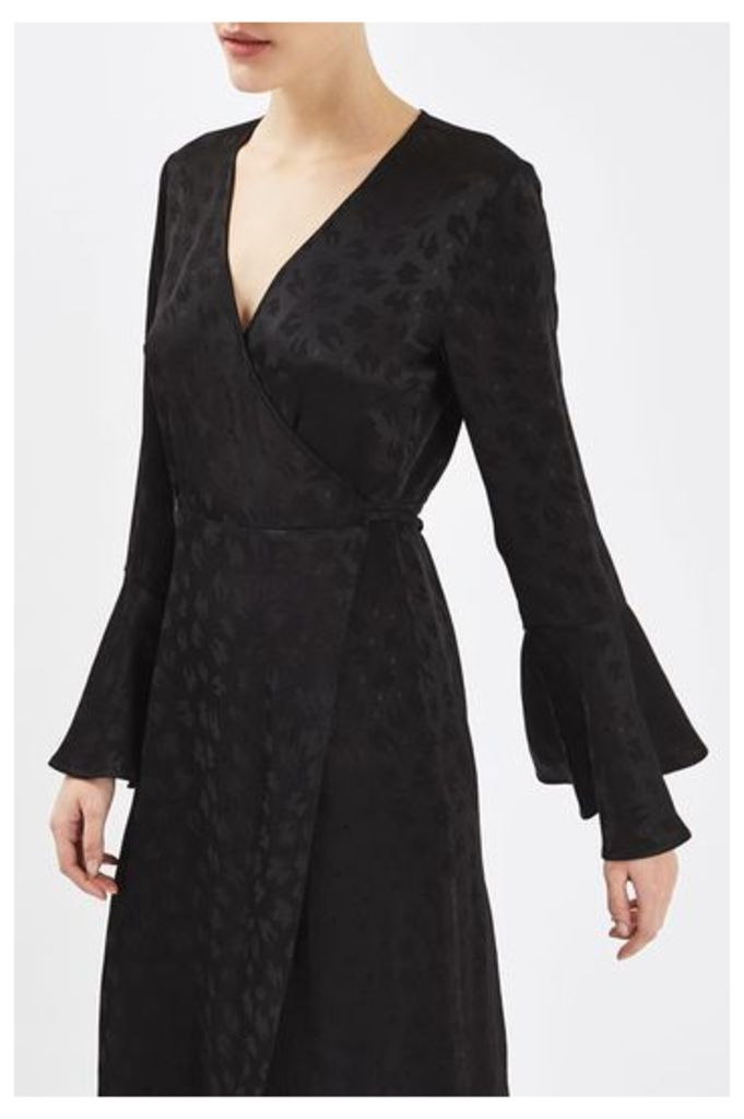Womens Jacquard Wrap Dress by Boutique - Black, Black