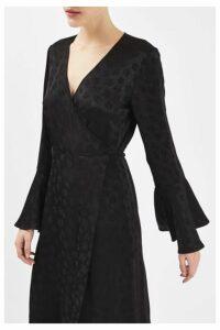 Womens Jacquard Wrap Dress by Boutique - Black, Black