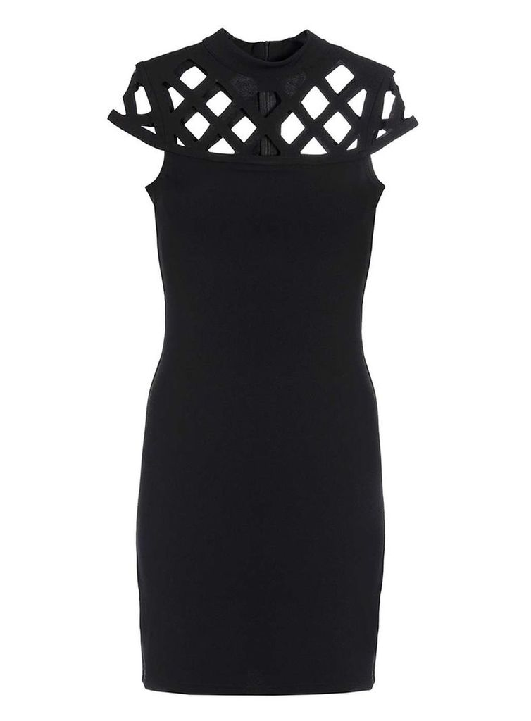 Womens *Quiz Black Crepe Laser Cut Dress- Black