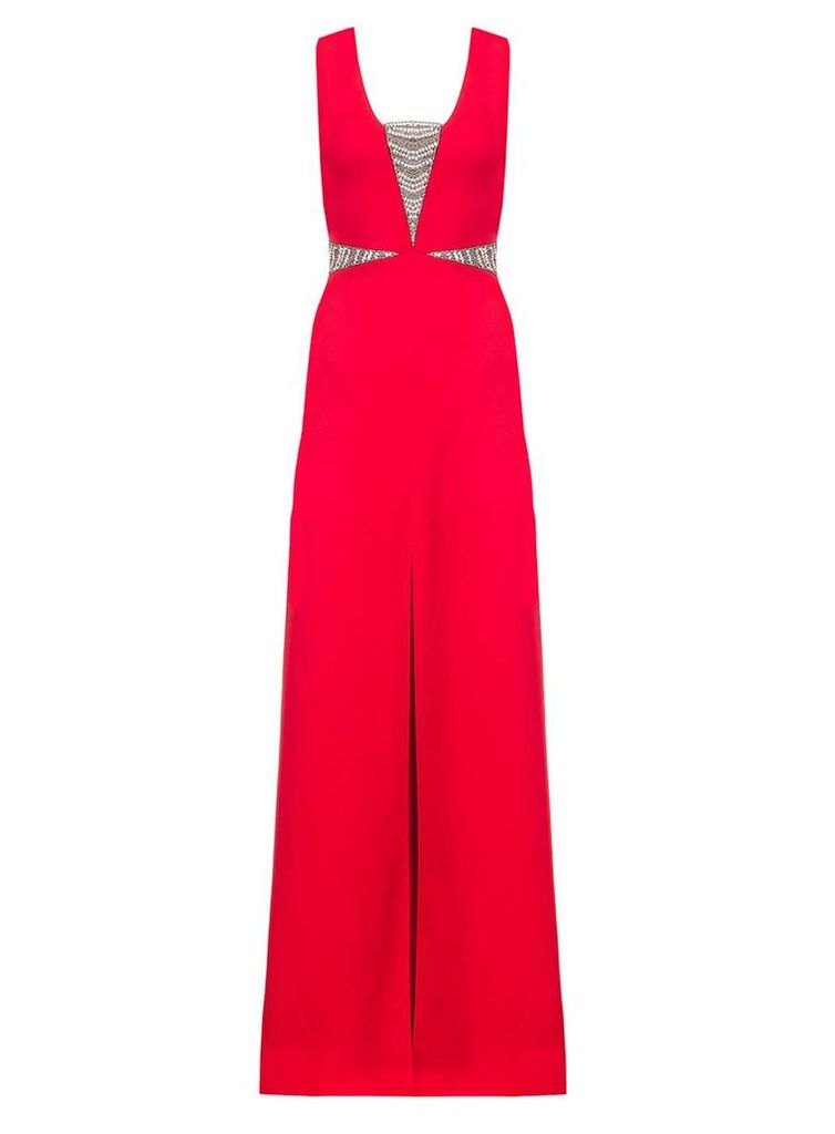 Womens *Quiz Red Embellished Split Maxi Dress- Red