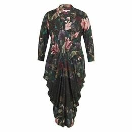 Chesca Floral Border Print Jersey Dress, Black/Multi