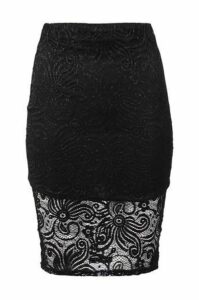Sparkled Lace Pencil Skirt