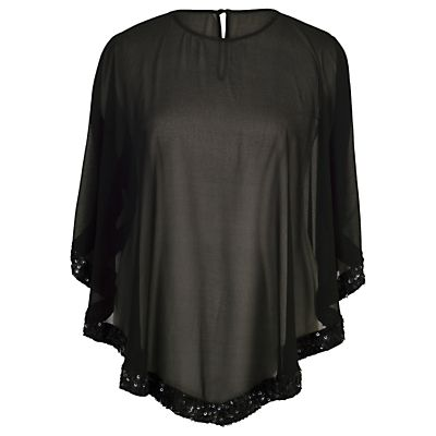 Chesca Ring Sequin Trim Top, Black