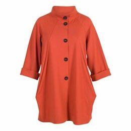 Chesca Button Detail Coat, Burnt Orange
