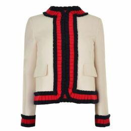 Gucci Cady Silk Cotton Web Ruffle Jacket
