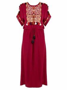 Figue - Naya Embroidered Silk Georgette Dress - Womens - Pink