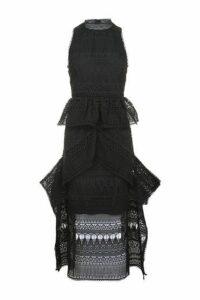 Womens Funnel Lace Midaxi Dress - Black, Black