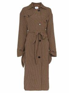 Nanushka Noir gingham wool blend trench coat - Brown
