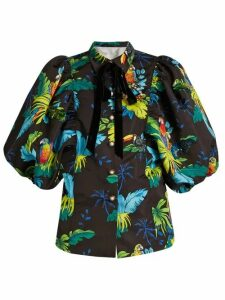Marc Jacobs - Tropical Bird Print Puff Sleeved Jacket - Womens - Black Multi