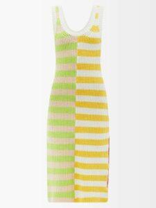 Anna Kosturova - Bardot Crochet Maxi Dress - Womens - Blue White