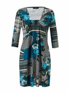 **Grace Teal Blue Jumper Tunic Dress, Teal