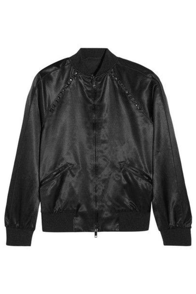 Valentino - The Rockstud Embellished Satin Bomber Jacket - Black