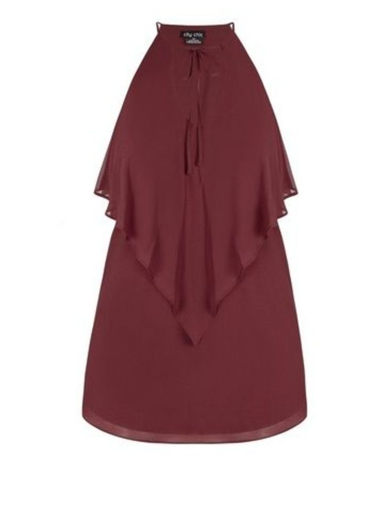 **City Chic Red Ruffled V-Neck Top, Red