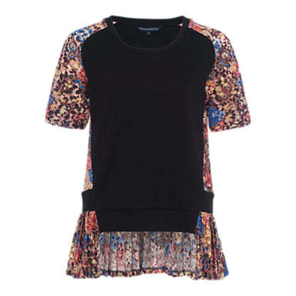 French Connection Flora Jersey Lace Top, Multi