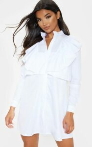 Flora White Frill Front Shirt Dress, White