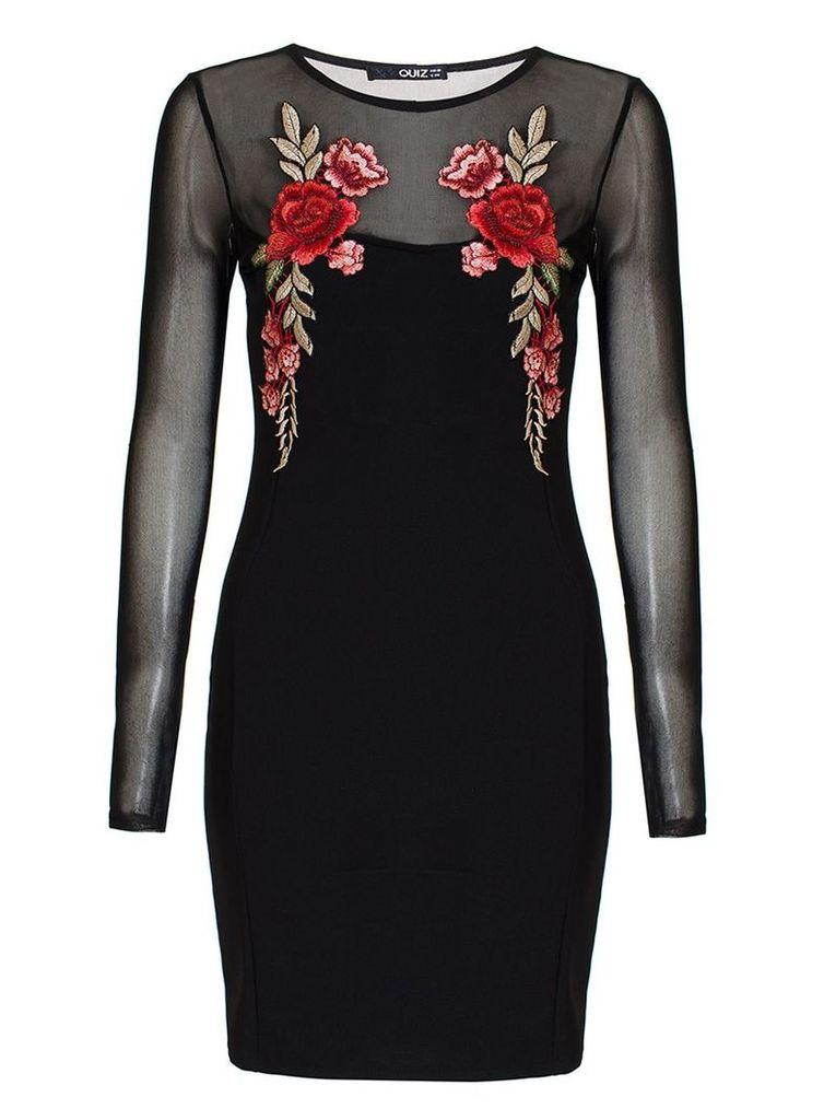 Quiz Black Flower Embroidered Mesh Sleeve Dress, Black