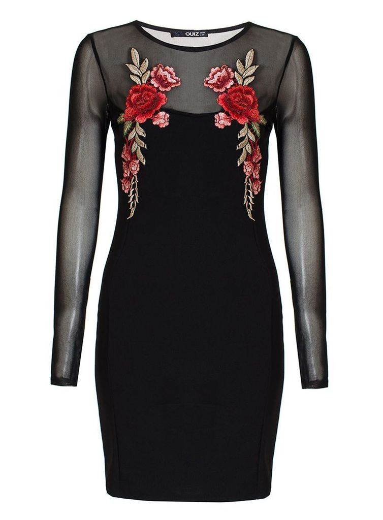 Quiz Black Flower Embroidered Mesh Sleeve Dress, Black