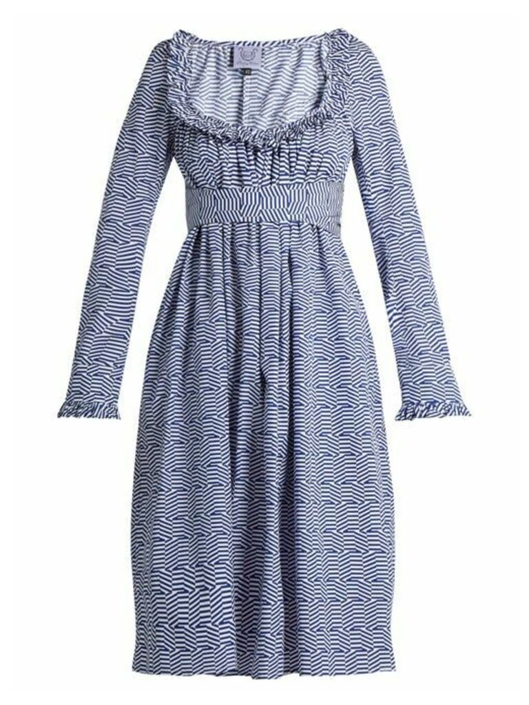 Thierry Colson - Geometric Print Cotton Poplin Dress - Womens - Blue White