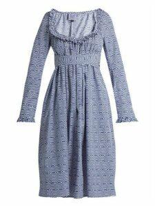 Thierry Colson - Geometric Print Cotton Poplin Dress - Womens - Blue White