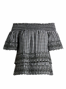 Bliss And Mischief - Gingham Off The Shoulder Cotton Top - Womens - Black White