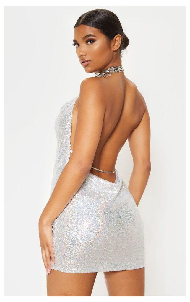 Tarria Silver Sequin Chain Choker Mini Dress, Grey