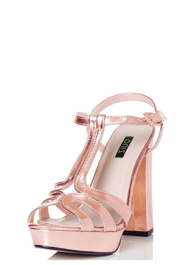 Womens *Quiz Rose Gold Block Heel Sandals- Rose Gold