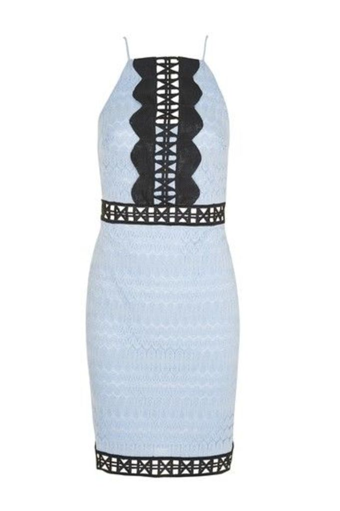 Womens Crochet Trim Contrast Dress - Pale Blue, Pale Blue