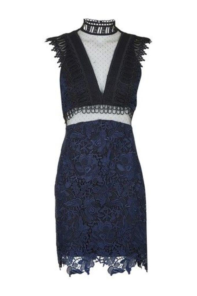 Womens Funnel High Neck A-Line Dress - Navy Blue, Navy Blue
