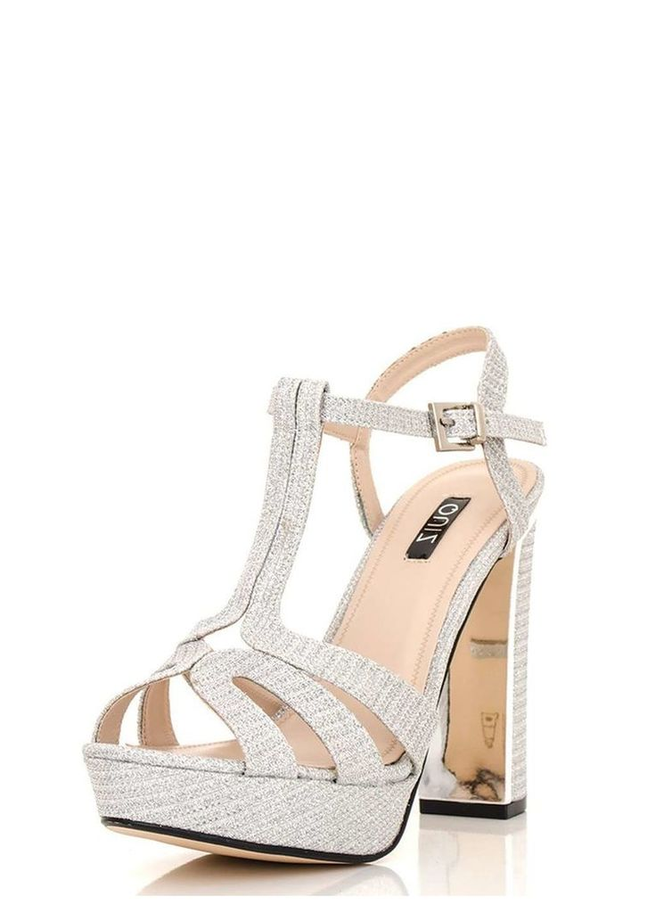 Womens *Quiz Silver Shimmer Block Sandals- Silver
