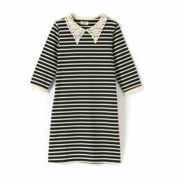 Striped Dress Faux Lace Collar & Cuffs